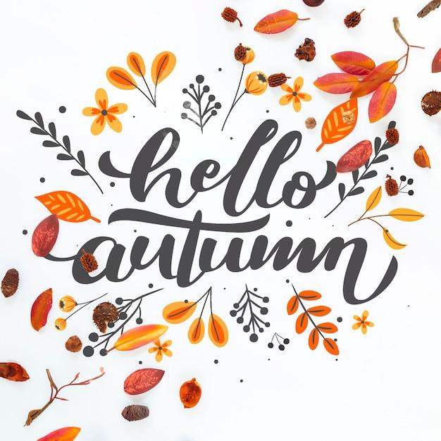 Close-up olá outono citação com folhas secas Psd grátis