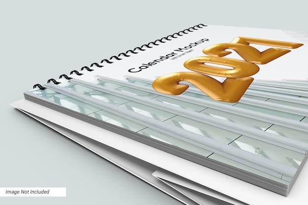 Close-up paisagem modelo de calendário de mesa isolado Psd Premium