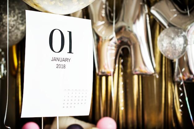 Closeup, de, janeiro, calendário Psd grátis