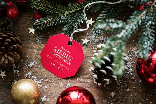Closeup de natal desejando cartão tag Psd grátis