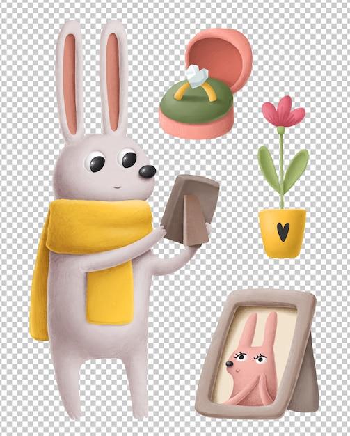 Coelhinho fofo no conjunto de ilustrações de mão desenhada de amor Psd Premium