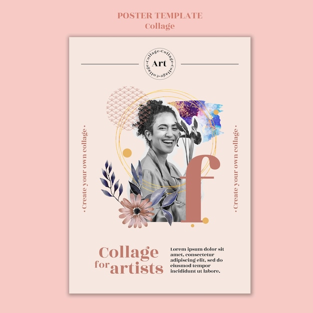 Colagem de pôster para modelo de artistas Psd grátis