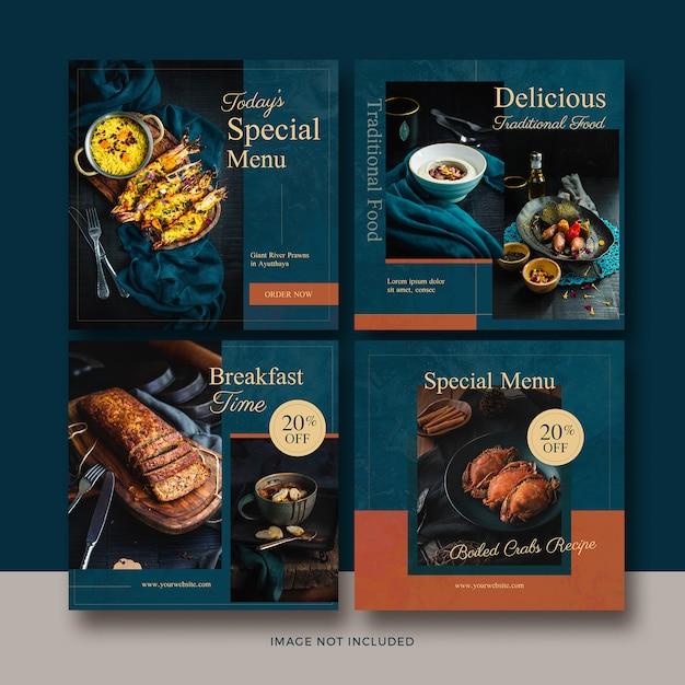 Coleção de banner de postagem de comida Psd Premium