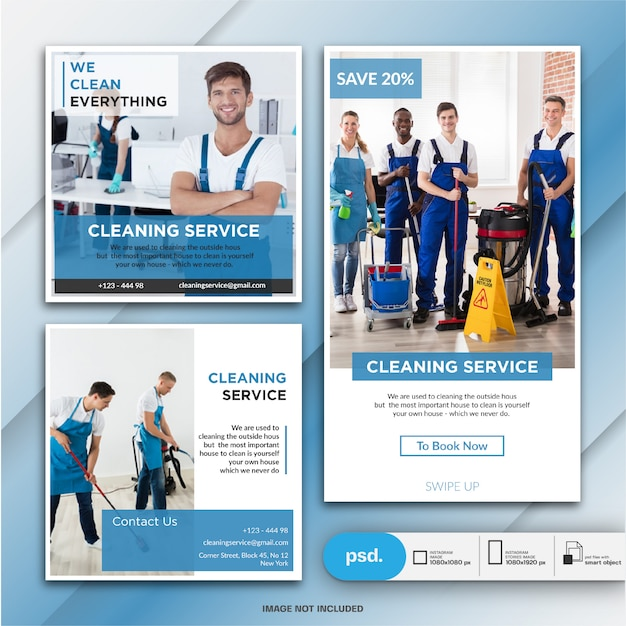 Coleção de banner de serviço de limpeza Psd Premium