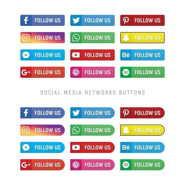 Coleção de botões de rede de mídia social Psd Premium