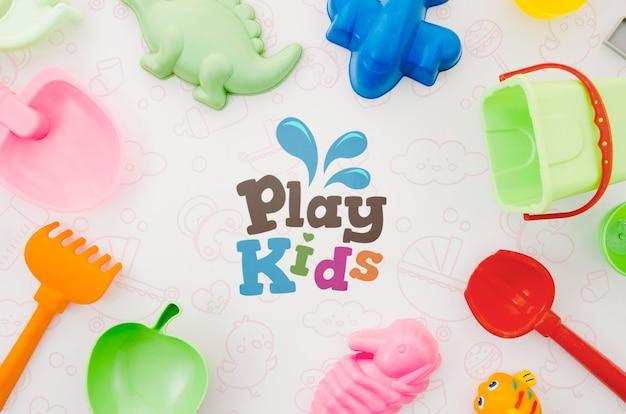 Coleção de brinquedos infantis de vista superior Psd grátis