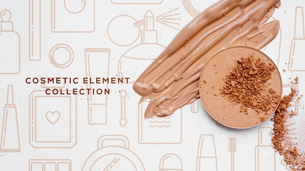 Coleção de elementos cosméticos com pó Psd grátis