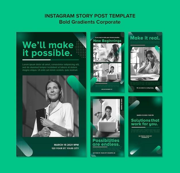 Coleção de histórias de instagram gradiente para carreira corporativa Psd Premium