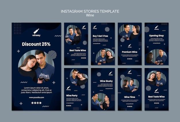 Coleção de histórias do instagram com casal para vinícola Psd grátis