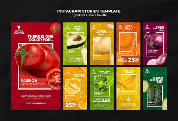 Coleção de histórias do instagram com vegetais e frutas vibrantes Psd Premium