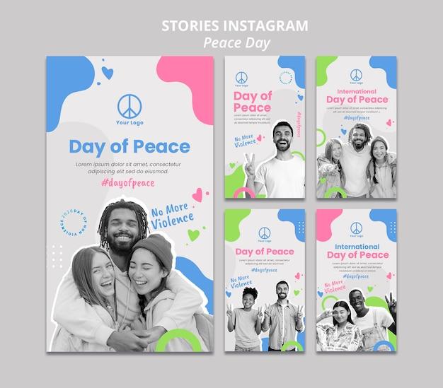 Coleção de histórias do instagram para a celebração do dia internacional da paz Psd grátis