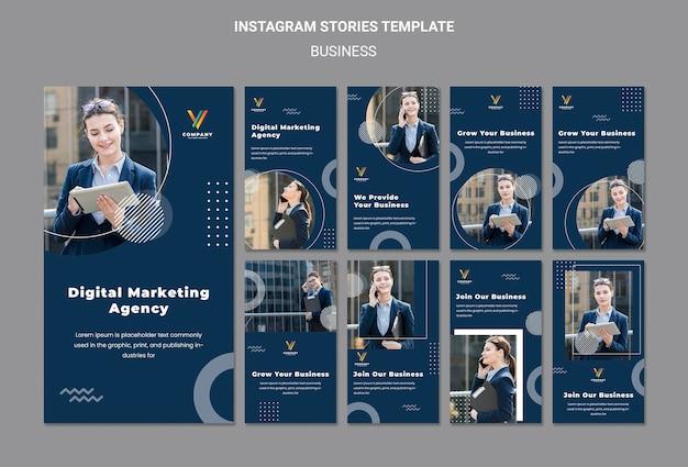 Coleção de histórias do instagram para agência de marketing digital Psd grátis