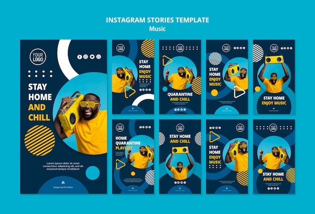 Coleção de histórias do instagram para curtir música durante a quarentena Psd grátis