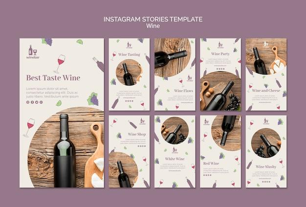 Coleção de histórias do instagram para degustação de vinhos Psd grátis