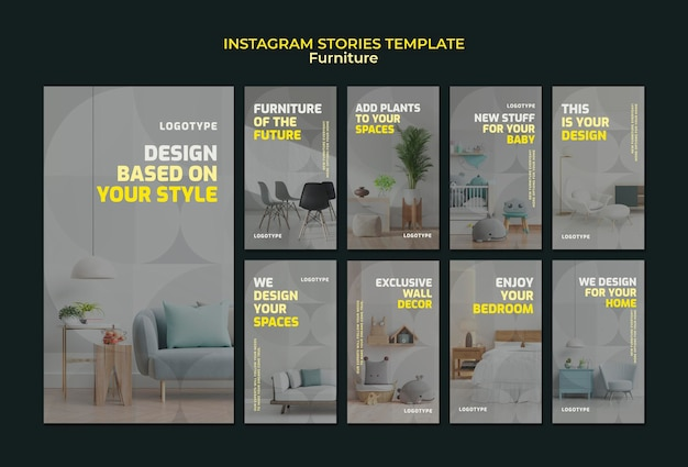 Coleção de histórias do instagram para empresa de design de interiores Psd Premium