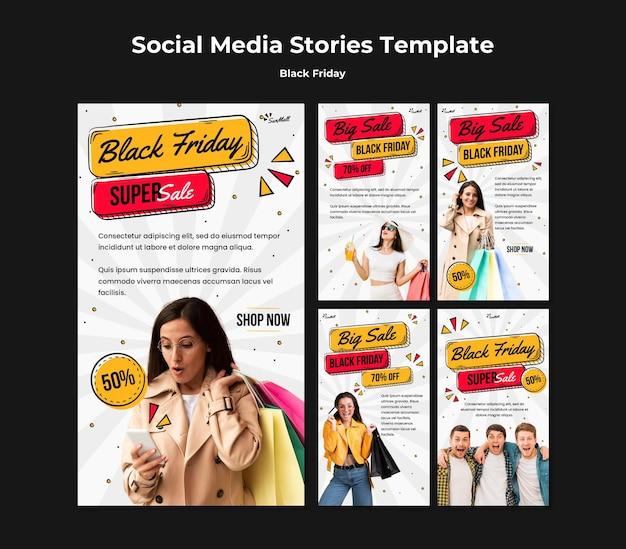 Coleção de histórias do instagram para liquidação na sexta-feira negra Psd Premium