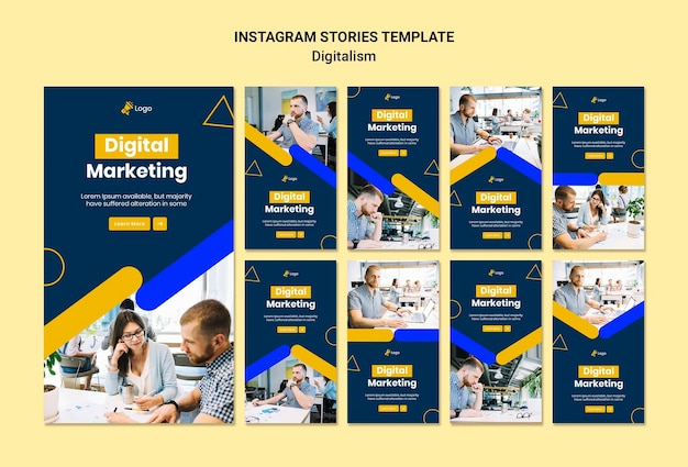 Coleção de histórias do instagram para marketing digital Psd grátis