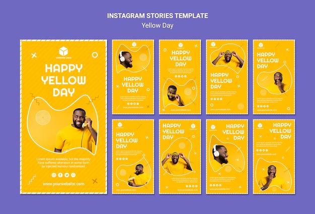 Coleção de histórias do instagram para o dia amarelo Psd grátis