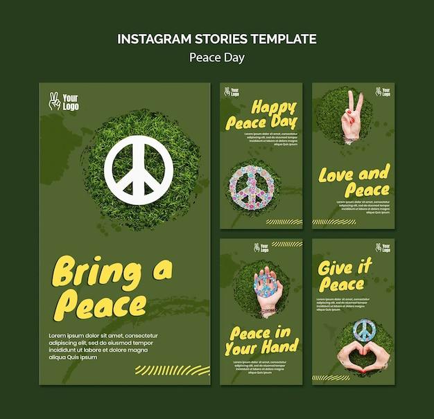 Coleção de histórias do instagram para o dia mundial da paz Psd grátis