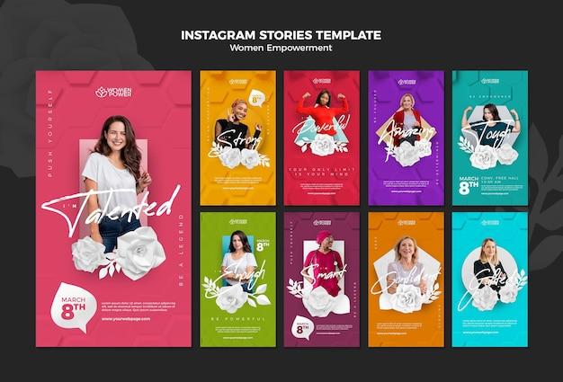Coleção de histórias do instagram para o empoderamento das mulheres com palavras de incentivo Psd Premium