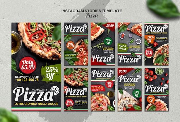 Coleção de histórias do instagram para pizzaria italiana Psd Premium