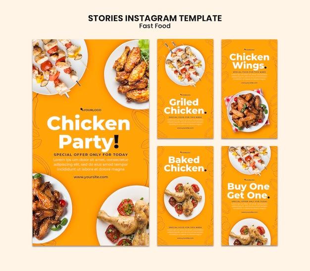 Coleção de histórias do instagram para prato de frango frito Psd Premium