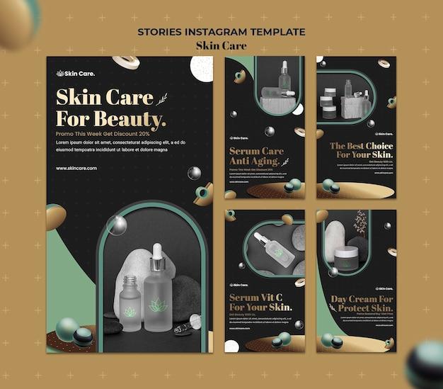 Coleção de histórias do instagram para produtos para a pele Psd Premium
