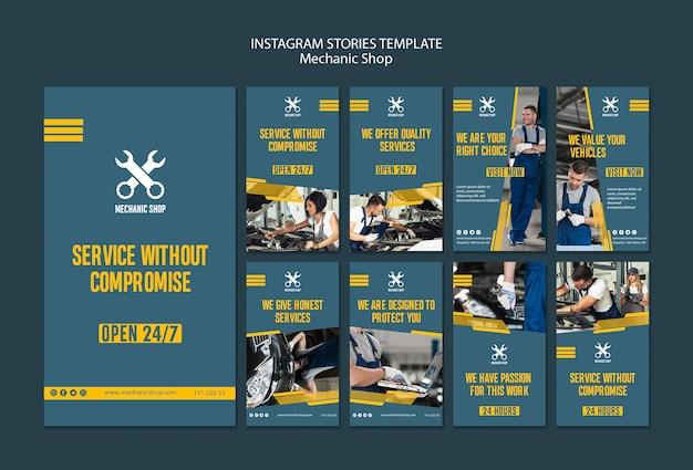Coleção de histórias do instagram para profissão mecânica Psd grátis