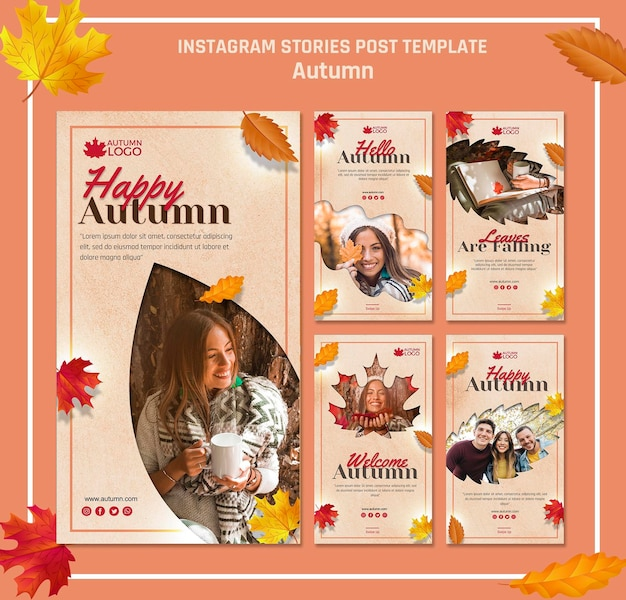 Coleção de histórias do instagram para receber a temporada de outono Psd grátis