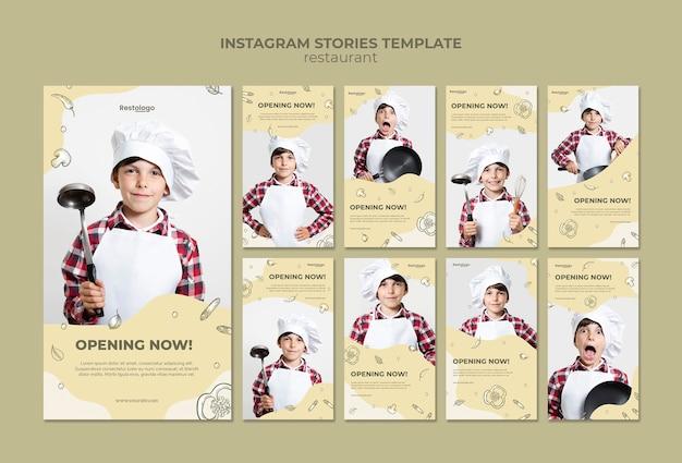 Coleção de histórias do instagram para restaurante Psd grátis