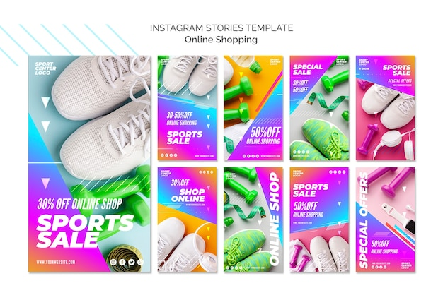 Coleção de histórias do instagram para venda de esportes on-line Psd grátis