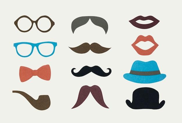 Coleção de ícone de hipster de homens Psd grátis