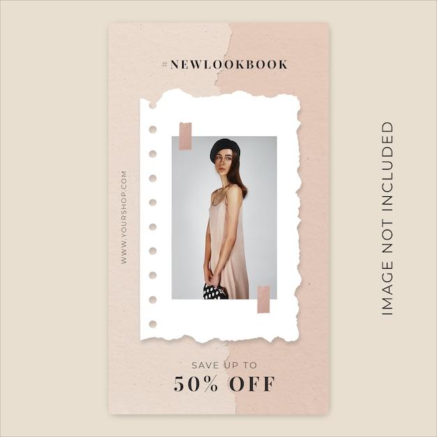 Coleção de moda nova temporada modelo de banner de histórias de instagram de papel rasgado Psd Premium