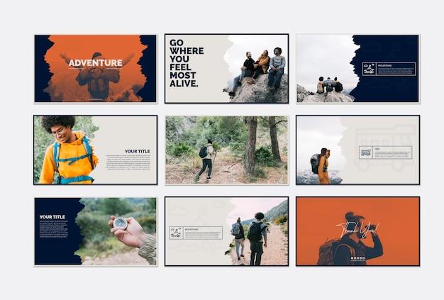 Coleção de modelo de cartão com o conceito de aventura Psd grátis