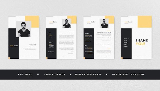 Coleção de modelo de currículo de currículo preto amarelo minimalista Psd Premium