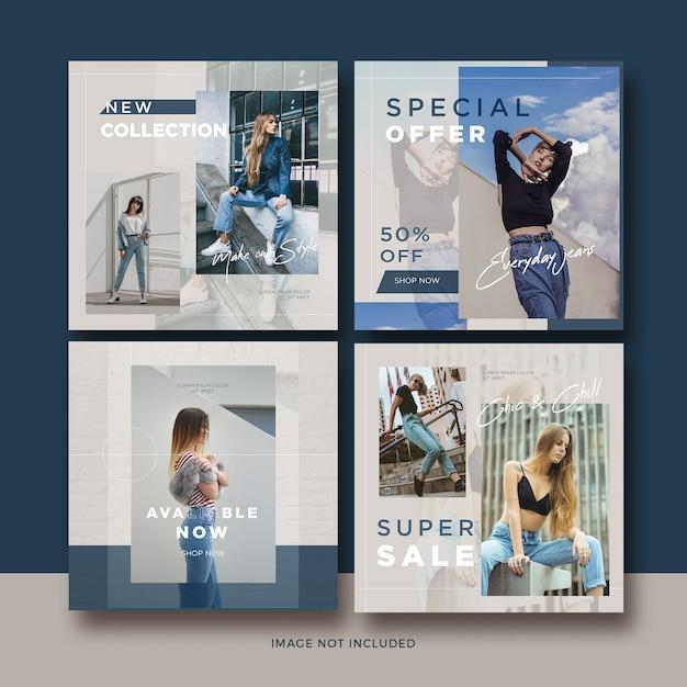 Coleção de modelo de postagem de mídia social de banner de moda Psd Premium