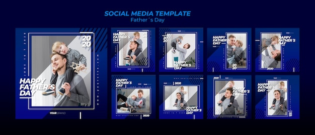 Coleção de modelo de postagem de mídia social do dia dos pais Psd grátis