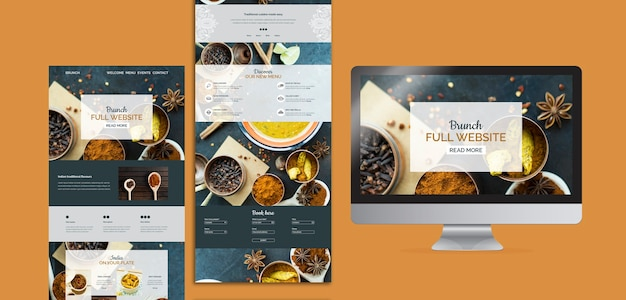 Coleção de modelos de site de comida indiana Psd grátis
