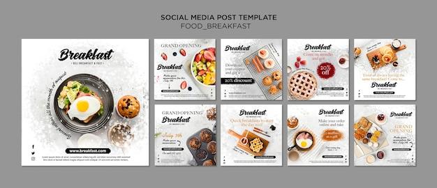 Coleção de post do instagram de conceito de café da manhã Psd Premium