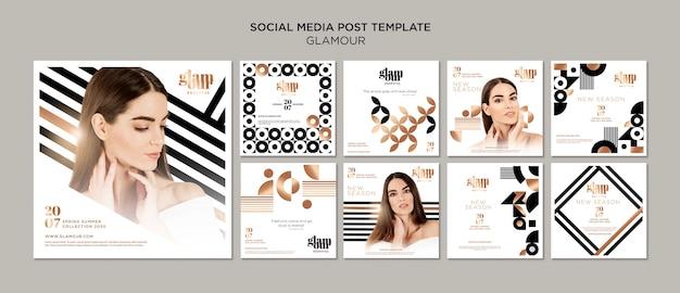 Coleção de post no instagram de glamour moderno Psd Premium