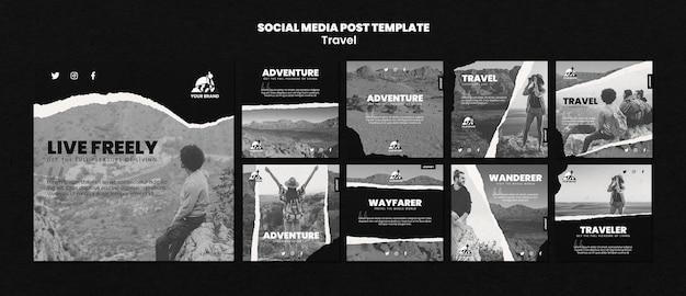 Coleção de postagens de instagram de viagens Psd Premium