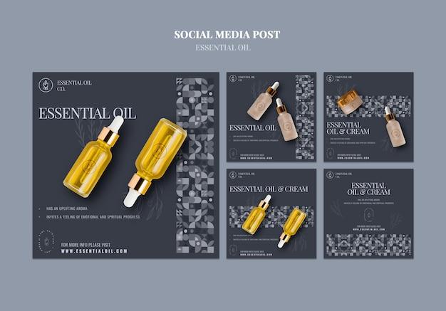 Coleção de postagens do instagram com cosméticos de óleos essenciais Psd grátis