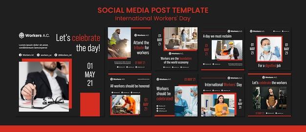 Coleção de postagens do instagram para a celebração do dia do trabalhador internacional Psd Premium