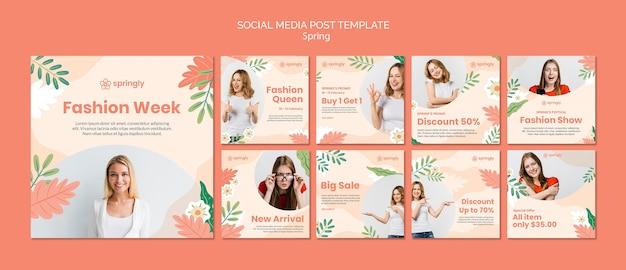 Coleção de postagens do instagram para a semana de moda da primavera Psd Premium