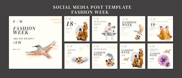 Coleção de postagens do instagram para a semana de moda Psd grátis