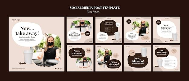Coleção de postagens do instagram para café para viagem Psd Premium
