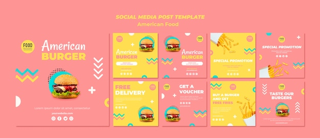 Coleção de postagens do instagram para comida americana com hambúrguer Psd grátis