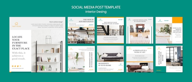 Coleção de postagens do instagram para design de interiores Psd Premium