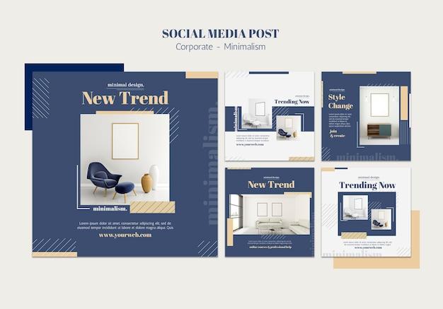 Coleção de postagens do instagram para design de interiores Psd grátis