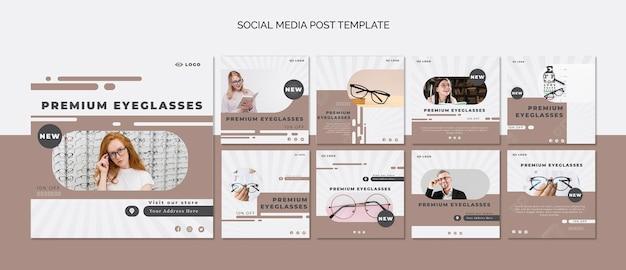 Coleção de postagens do instagram para empresa de óculos Psd grátis